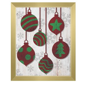 'Red with Green Tree Ring Ornaments' Framed Graphic Art