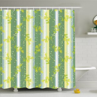 Striped Mimosa Spring Flower Leaves on Striped Back March Blossoms Feminine Decor Shower Curtain Set