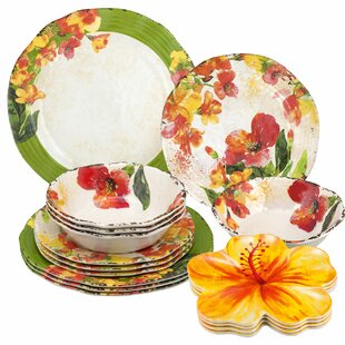 Shiloh Hibiscus 16 Piece Dinnerware Set, Service for 4