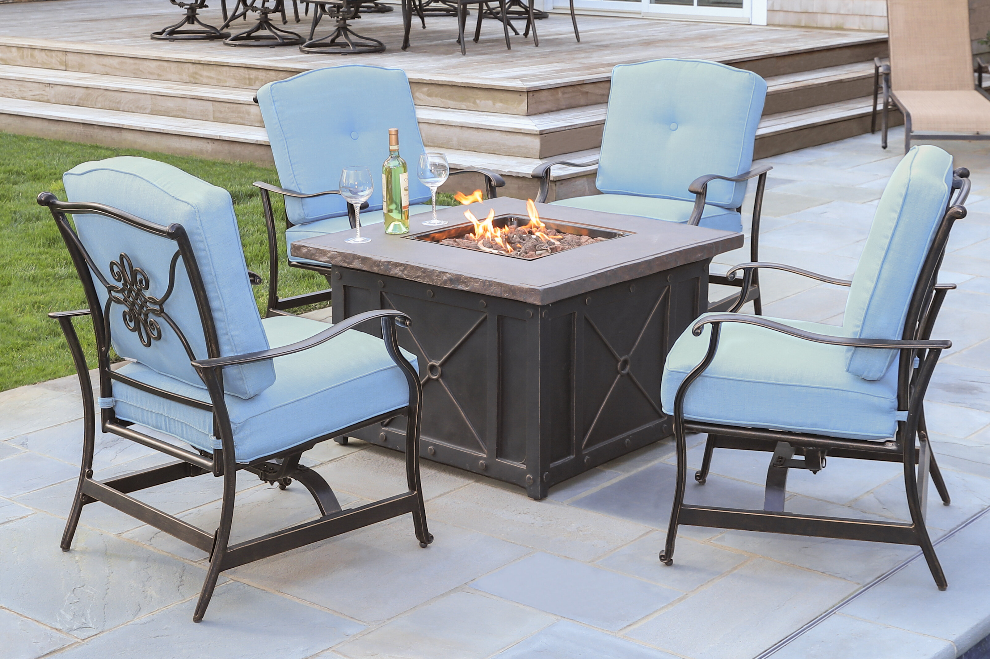 Rhonda 5 Piece Fire Pit Patio Set