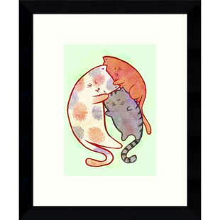 'Cuddling Cats' Framed Painting Print