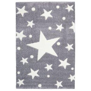 Kinderteppich Stars in Silbergrau