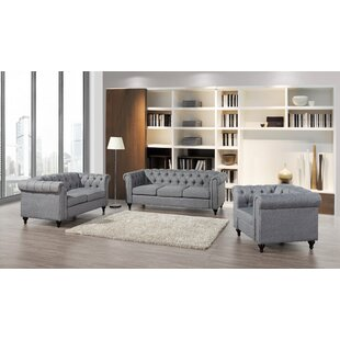 Compare prices Niangua Chesterfield 3 Piece Living Room Set by House of Hampton Reviews (2019) & Buyer's Guide
