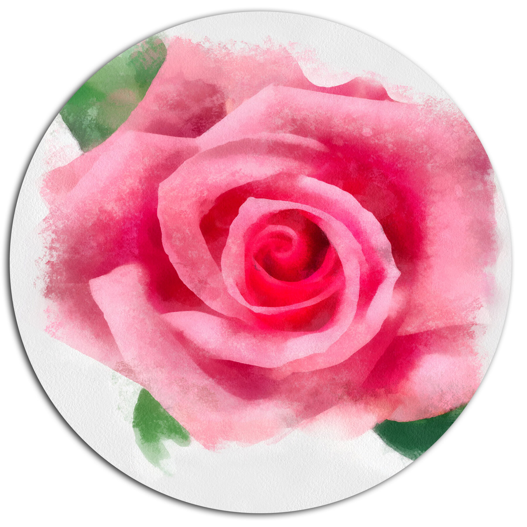 Designart Big Pink Rose Flower With Leaves Oil Painting Print On
