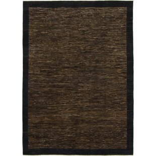 Affordable One-of-a-Kind Nash Hand-Knotted  5'8 x 8' Wool Dark Brown/Black Area Rug By Isabelline