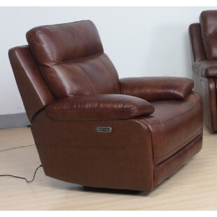 Nicolette Leather Electric Recliner By Ebern Designs