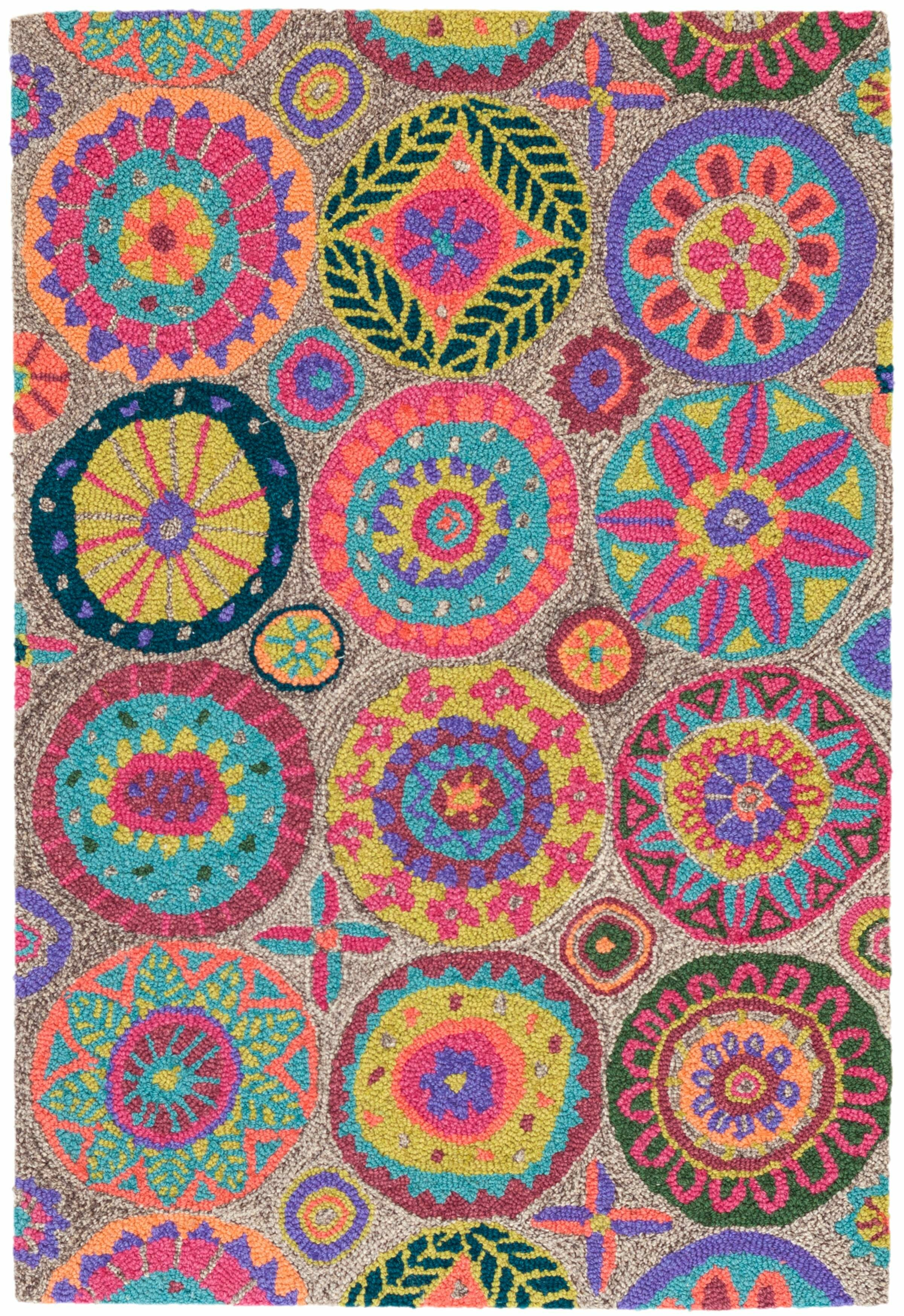 Dash And Albert Rugs Merry Go Round Floral Handmade Looped Hooked Wool Pink Blue Brown Area Rug Reviews Perigold