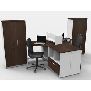 TeamCENTERoffice Triangular Corner 7 Piece L-Shaped Desk Office Suite