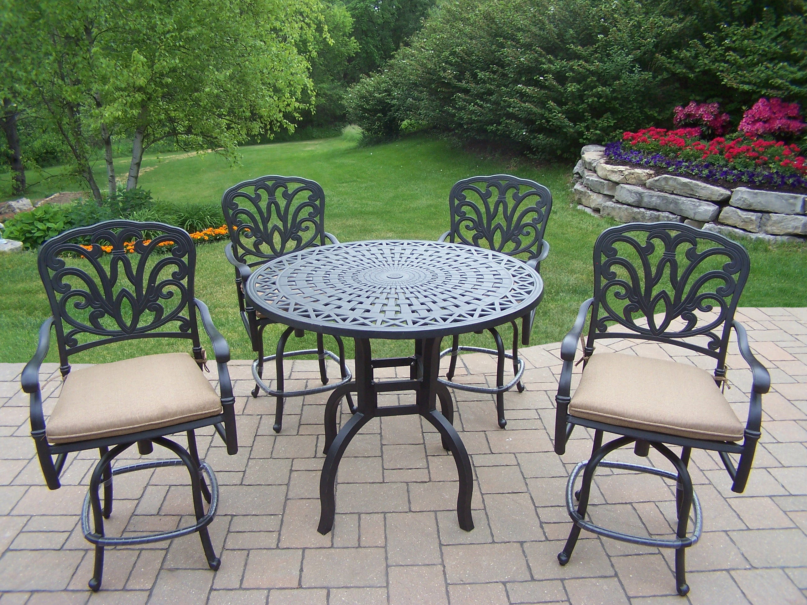 Darby home co bosch 5 piece bar height dining set with cushions reviews wayfair