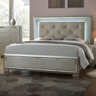Rosdorf Park Domenick Full Upholstered Platform Bed Frame with LED on Headboard