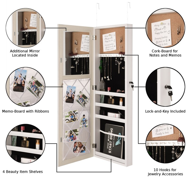 Rieves Over The Door Makeup Storage Jewelry Armoire With Mirror