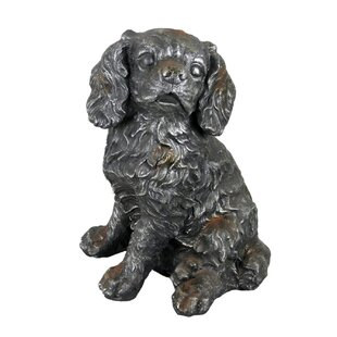 Grey Sitting Rustic King Charles Spaniel Garden Ornament By August Grove