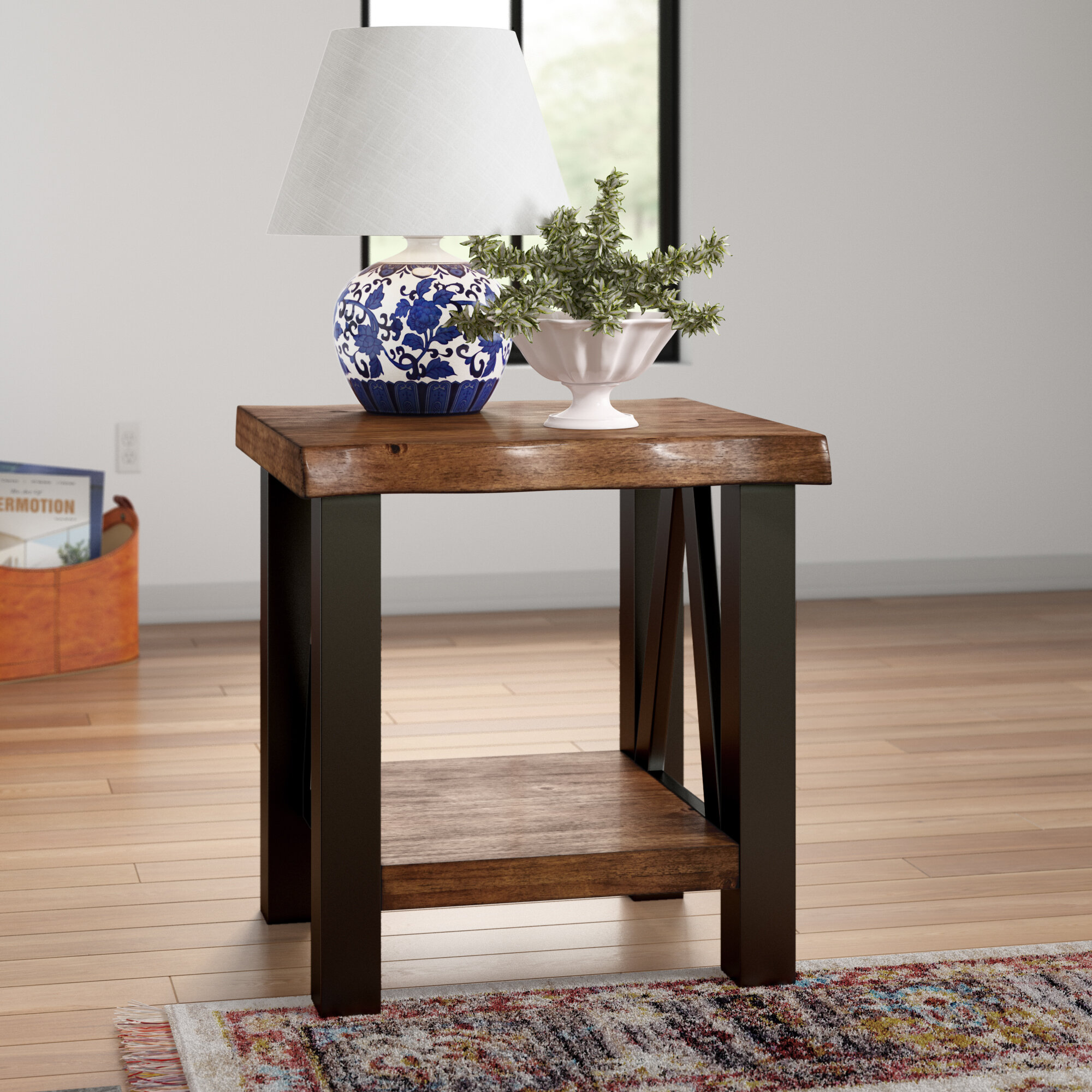 Three Posts Northam Trestle End Table With Storage Reviews Wayfair