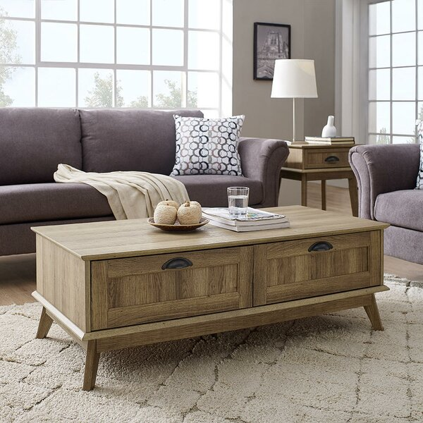 Cabral Tall Centre Coffee Table With Fully Extended Drawers |Sturdy And  Easy Assembly |Golden Oak Wood Look Accent Living Room Home Furniture