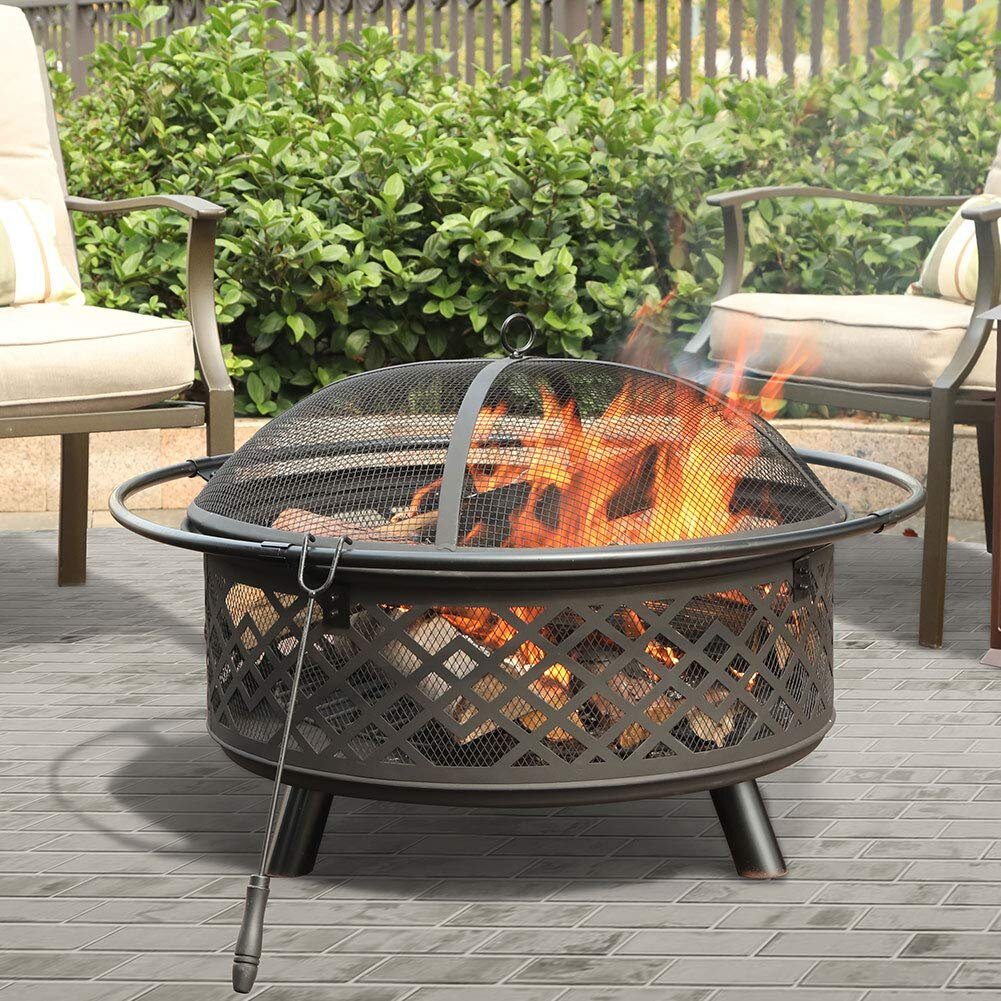 Latitude Run Ambrosius Patio Cutouts Pattern Steel Charcoal Wood Burning Fire Pit Reviews Wayfair