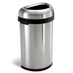 16 Gallon Semi-Round Open Trash Can, Heavy-Gauge Brushed Stainless Steel
