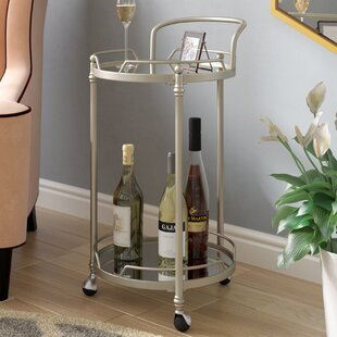 House of Hampton Shadwell Round Mirror Bar Cart