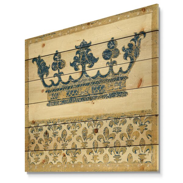 Ornate Glam 'Fleur de Lis Crown' Print on Wood