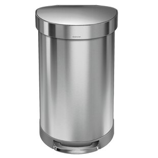 simplehuman 11.9 Gallon Semi-Round Step Trash Can, Brushed Stainless Steel