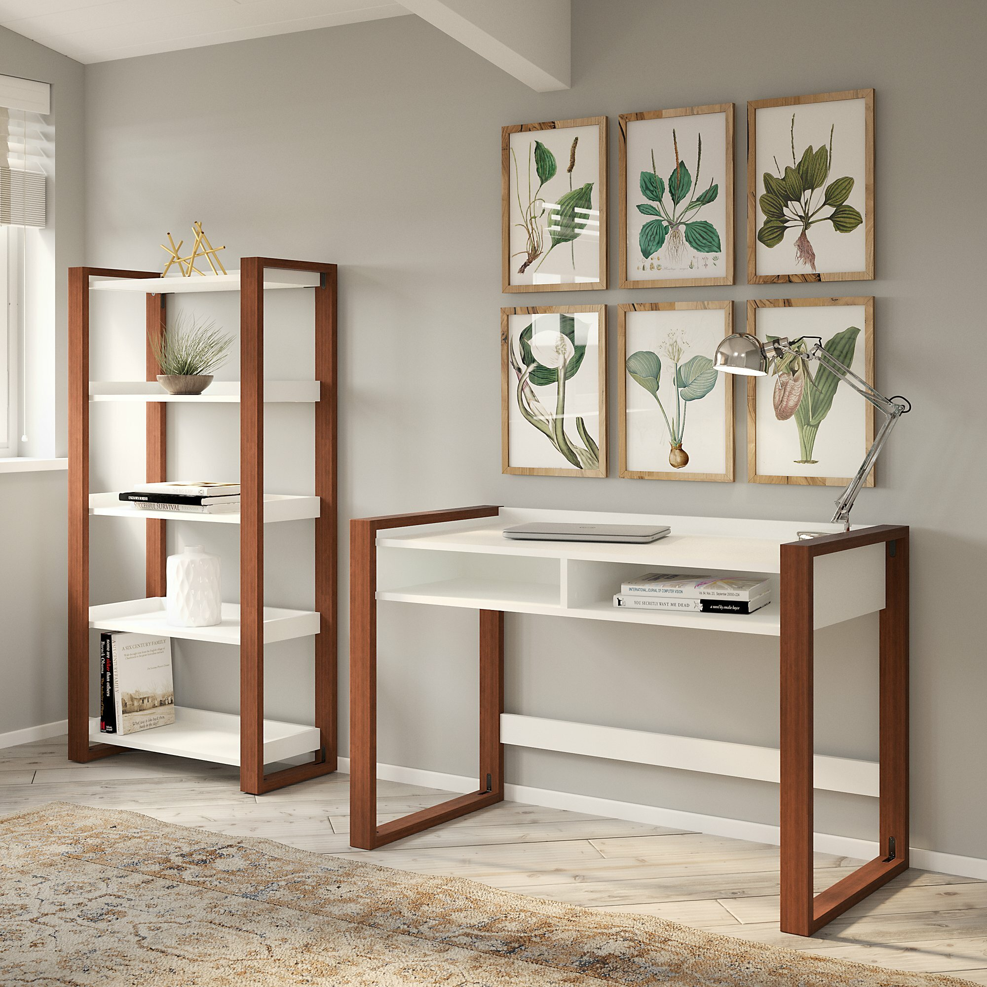 Voss Writing Desk with Bookcase Set