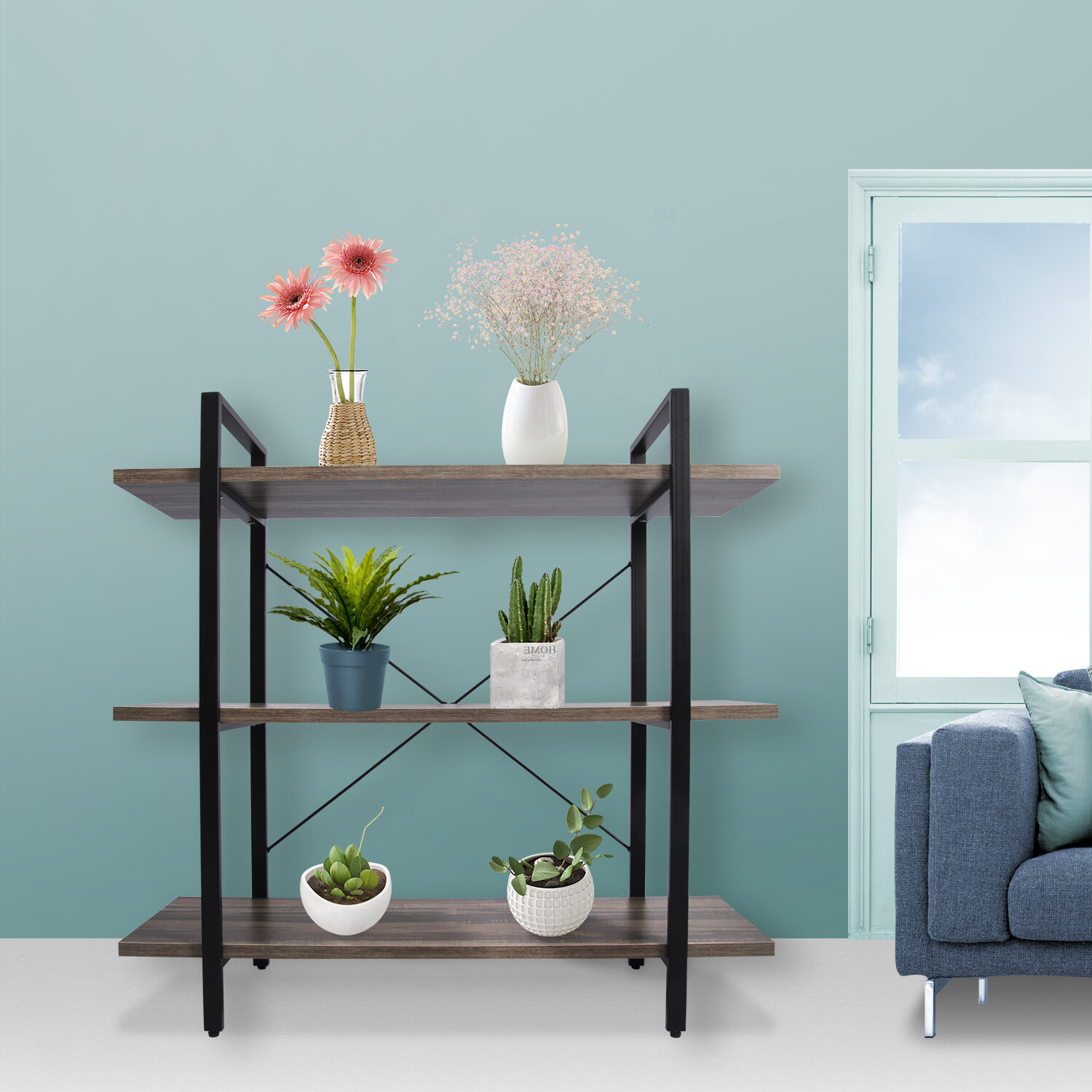 Gracie Oaks Aquino 3 Tier Wood Etagere Bookcase Wayfair Ca