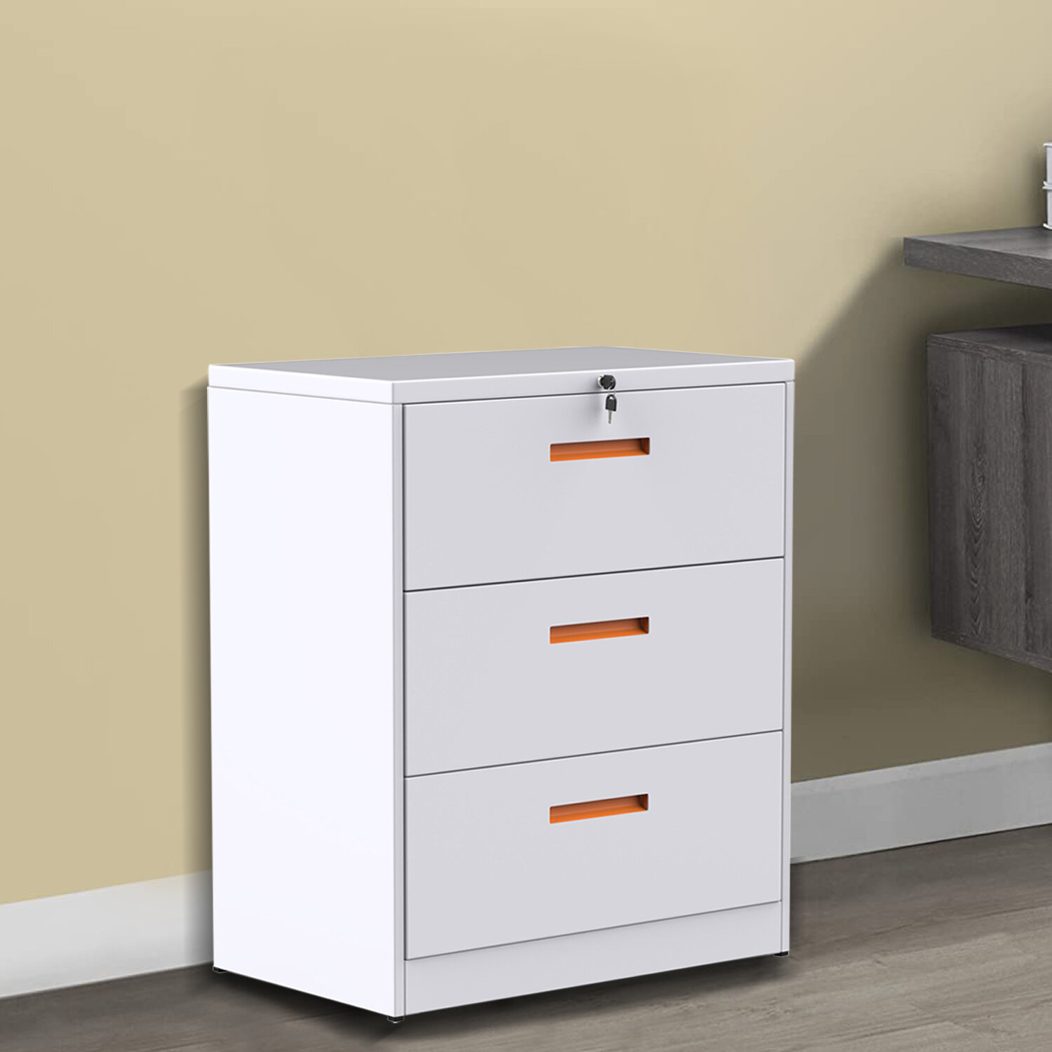 Picture of: Inbox Zero Metal Lateral File Cabinet With Lock White Orange 3 Drawers 35 4w 17 7d 40 3h Wayfair Ca