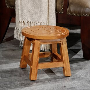 Dyar Maple Leaf Fairplay Carved Wooden Accent Stool by Millwood Pines