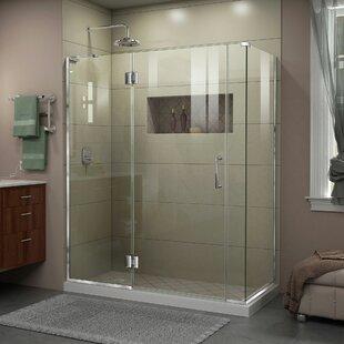 DreamLine Unidoor-X 58 in. W x 34 3/8 in. D x 72 in. H Frameless Hinged Shower Enclosure