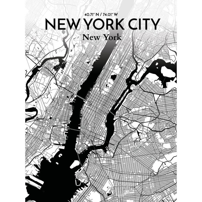 Ourposter Com New York City Map Graphic Art Print Poster In Ink
