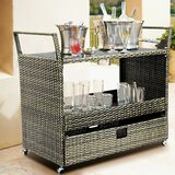 Bangura Rolling Portable Kitchen Cart with Tempered Glass Top by Winston Porter