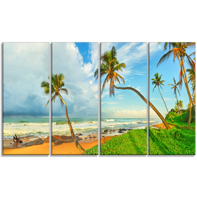 Designart Palm Trees Over The Beach Sri Lanka 4 Piece Photographic Print On Wrapped Canvas Set Wayfair