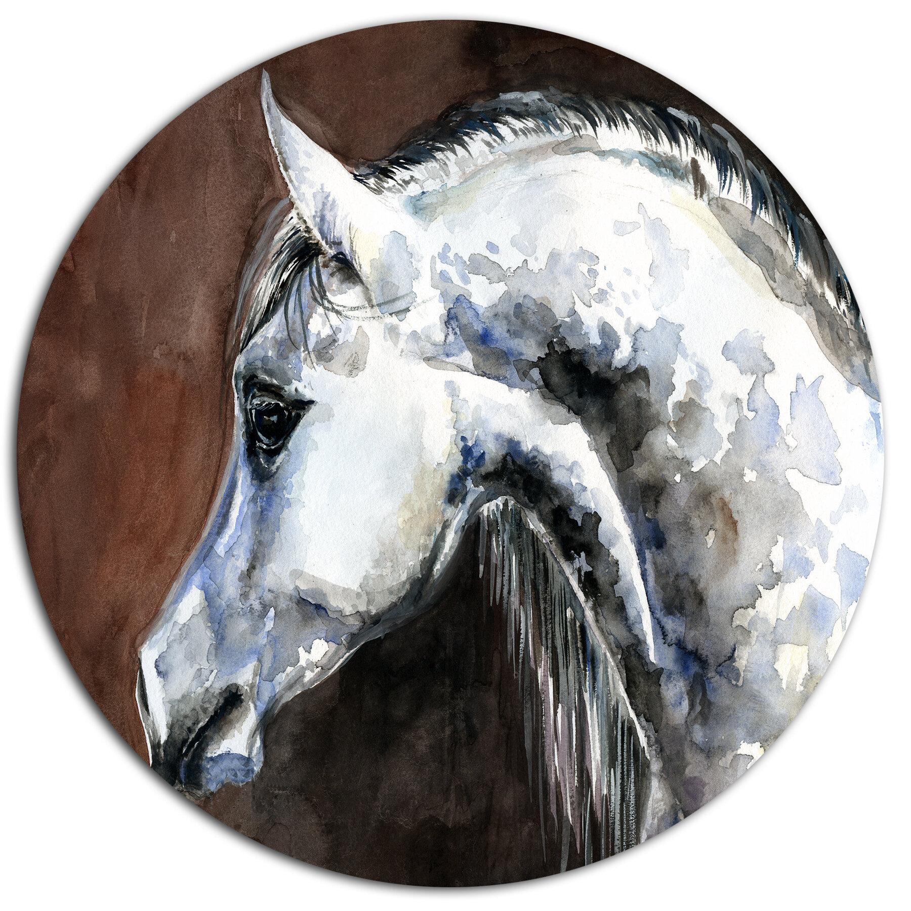 Designart Gray Arabian Horse Watercolor Oil Painting Print On Metal Wayfair