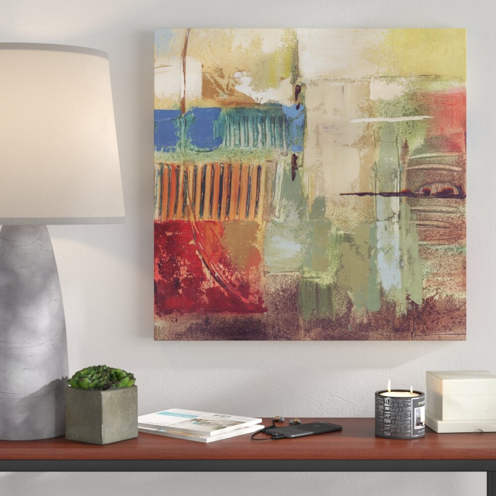 Colour layers abstract art canvas print wall art décor 24x24 ready to hang by artmaison ca