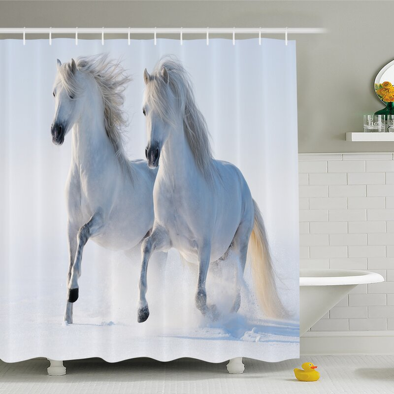 Winter Galloping Noble Horses On Snow Field Purity Symbol Animals Equestrian Theme Shower Curtain Set