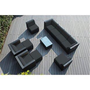 Wade Logan Baril 11 Piece Rattan Sunbrella Sofa Set with Cushions