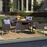 Norfork Outdoor Wicker Round 5 Piece Dining Set with Cushions