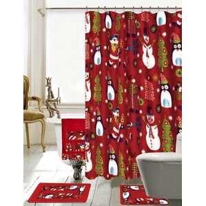 Christmas Bathroom Decor 18 Piece Red Shower Curtain Set Curtains You ll Love  Wayfair