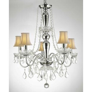 Harriet Bee Croxton Crystal Trimmed 5-Light Shaded Chandelier