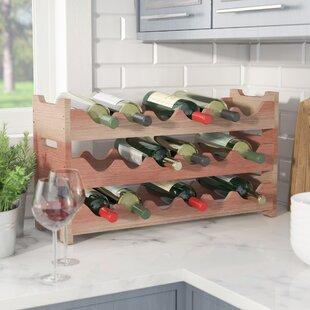 Red Barrel Studio Karnes Redwood Mini Scalloped 18 Bottle Tabletop Wine Rack