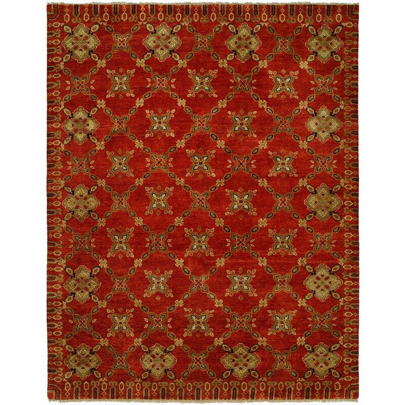 Fleur De Lis Living Hershel Geometric Hand Knotted Wool Red Area Rug Wayfair