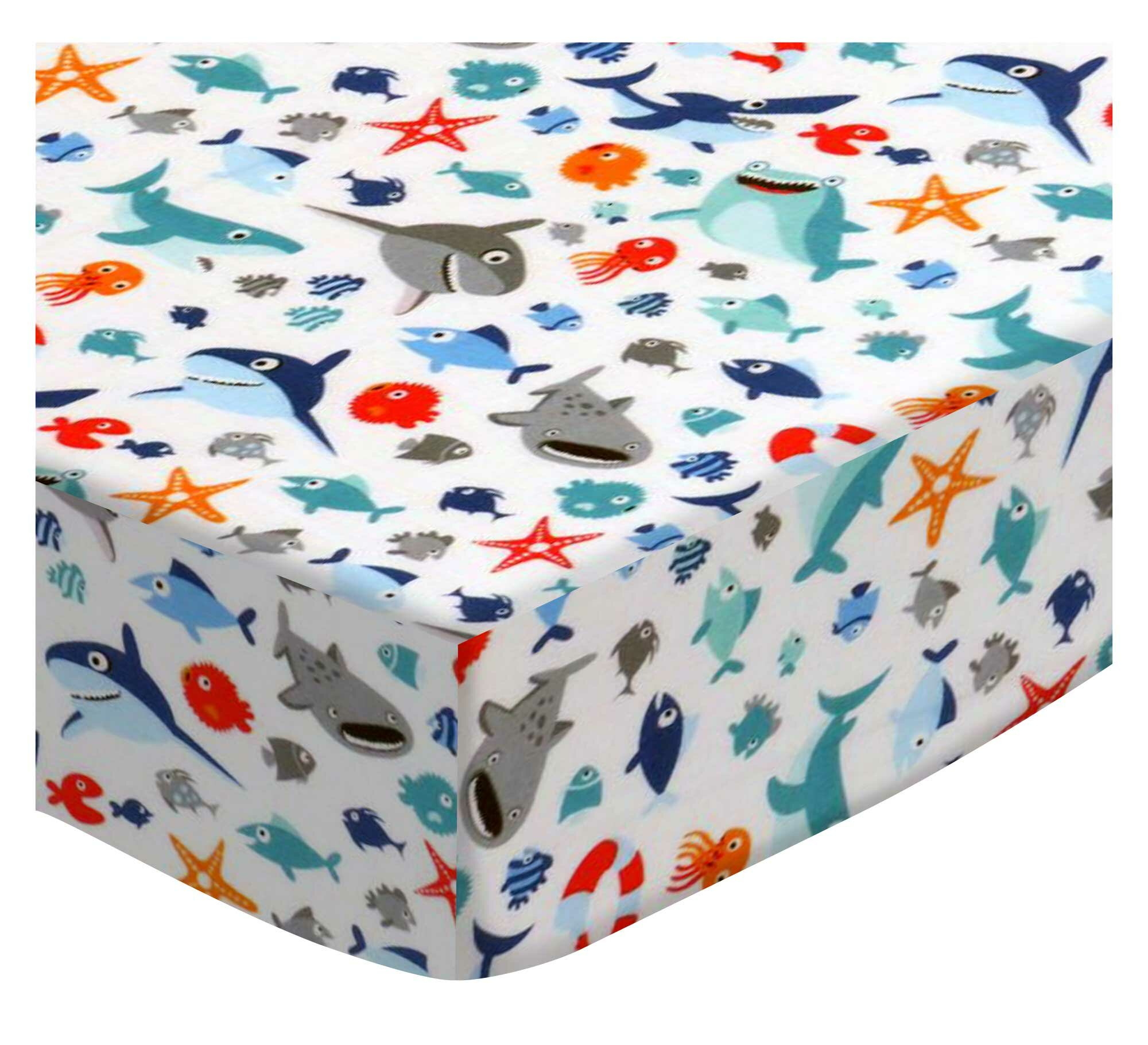 SheetWorld Fitted 100/% Cotton Percale Portable Mini Crib Sheet 24 x 38 Baby Sharks Made in USA