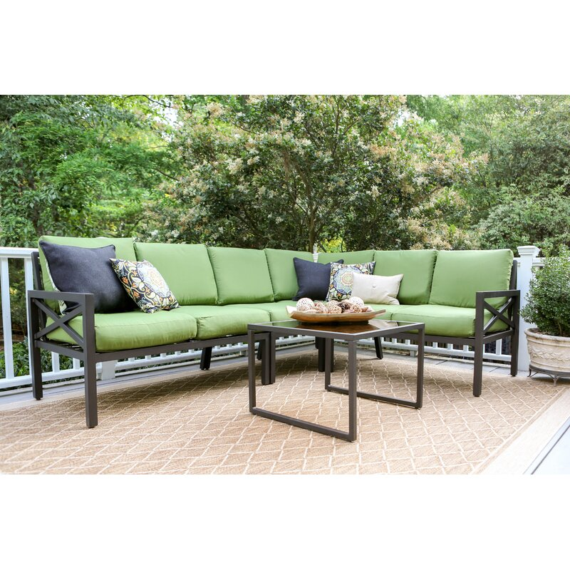 Hallie 5 Piece Sectional Seating Group with Cushions & Reviews ...
