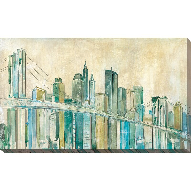 Latitude Run New York City Sketch Painting Print On Wrapped Canvas Wayfair