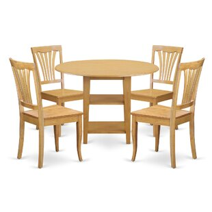 Tyshawn 5 Piece Drop Leaf Breakfast Nook Solid Wood Dining Set by Charlton Home Best