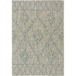 Gunter Bohemian Khaki/Teal Indoor/Outdoor Area Rug