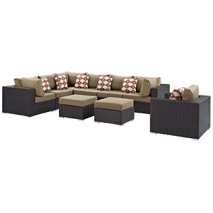 Brentwood 9 Piece Rattan Sectional Set with Cushions