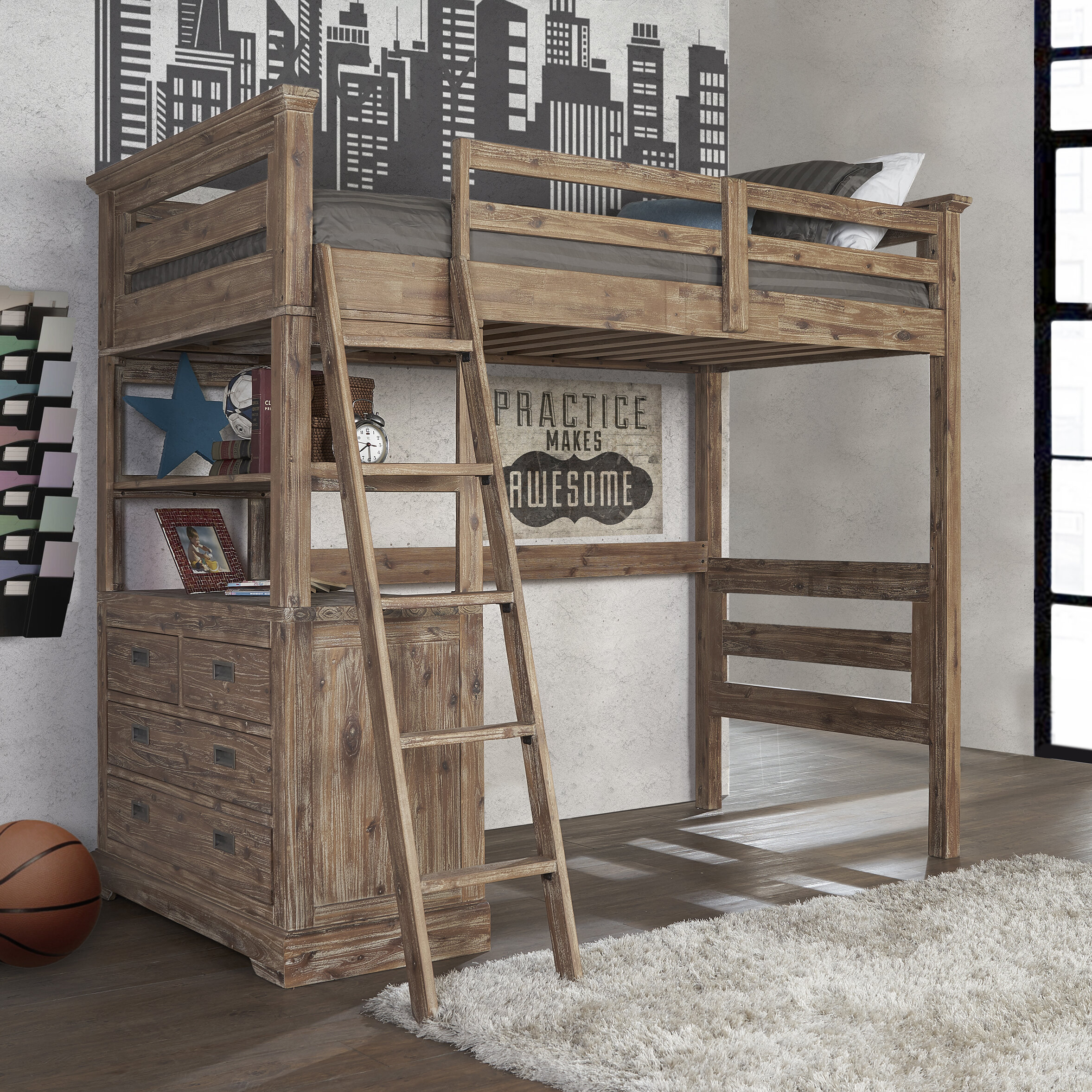 Elise Loft Bed With 4 Drawer Chest End Joss Main