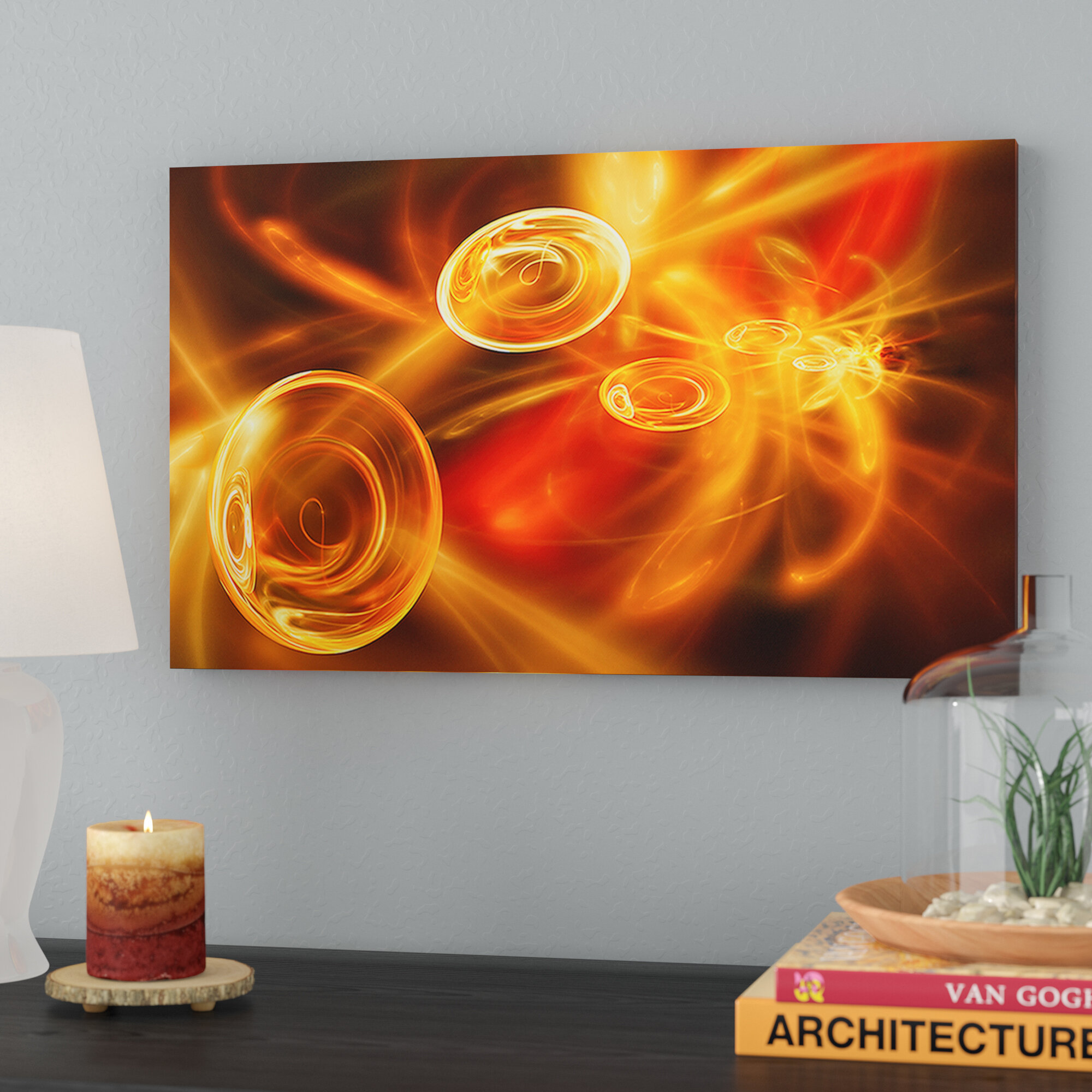 yellow fractal desktop wallpaper oil painting print on canvas