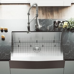 33 L x 22 W Farmhouse Kitchen Sink with Faucet, Grid, Strainer and Soap Dispenser By VIGO