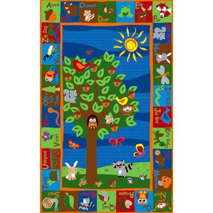 forest animal alphabet multi colored area rug - Colorful Area Rugs